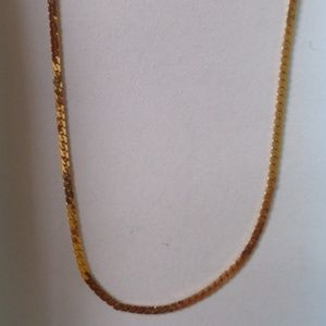 Italy 14kt Gold Flat Gormette Chain Necklace 18""